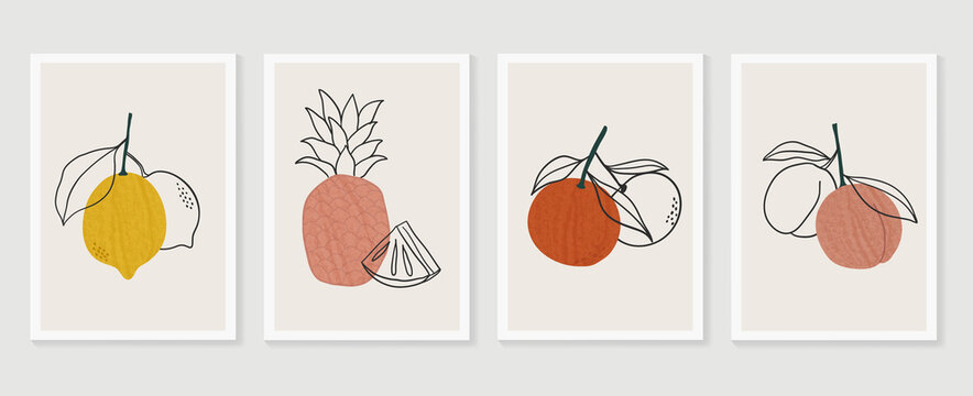 Tropical fruits wall art background vector.  Hand drawn boho plants, palm leaves and floral design for summer artistic cards, brochure covers, invitation, wallpaper, canvas prints and poster.