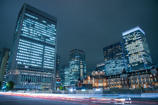 Tokyo, Japan at the Marunouchi business district and Tokyo Station..