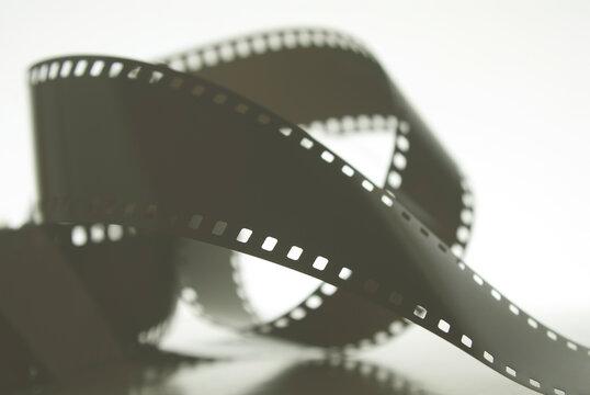 35mm negative film roll in blur. Photographic film.