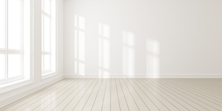 3d render of modern empty room with wooden floor and large white plain wall.