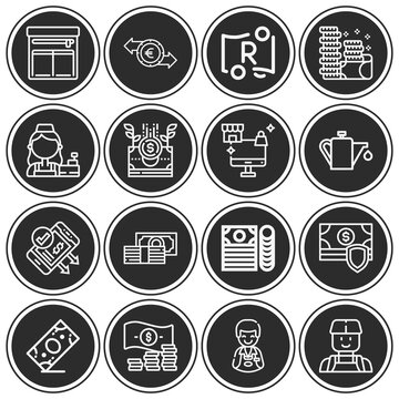 16 pack of liquidity  lineal web icons set