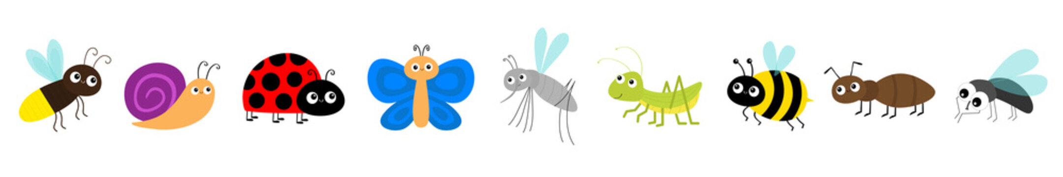 Grasshopper, fly, firefly, ant, mosquito, bee bumblebee, butterfly, snail cochlea, lady bug ladybird ladybug. Cute cartoon kawaii flying insect icon line set. Flat design. White background