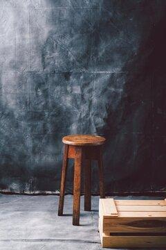 Empty Stool And Photography Studio Backdrop