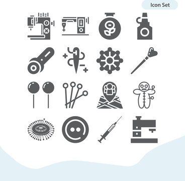 Simple set of needles related filled icons.