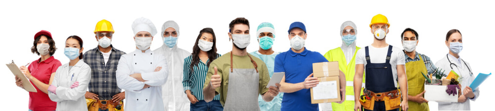 job, health and pandemic concept - people of different professions wearing face protective masks or respirators for protection from virus disease over white background