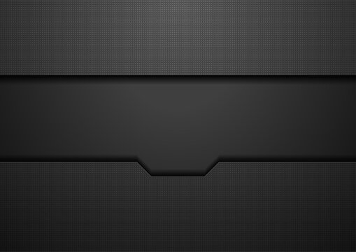 Black hi-tech concept abstract geometric futuristic background. Vector design