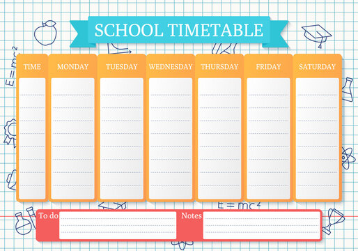 School timetable. Schedule for kids. Student plan template on checkered paper with linear school icons. Weekly time table with lessons. Vector illustration. Educational classes diary on English, A4.