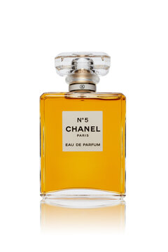 Bottle of perfume Chanel № 5. on white background. Coco Chanel