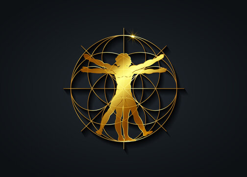 Sacred Geometry gold symbol. The Vitruvian man. Detailed drawing on the basis of golden artwork by Leonardo da Vinci, vector isolated on black background