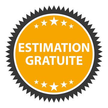 Estimation gratuite. Expertise immobilière ou valeur produit. Icône sticker vectoriel orange.