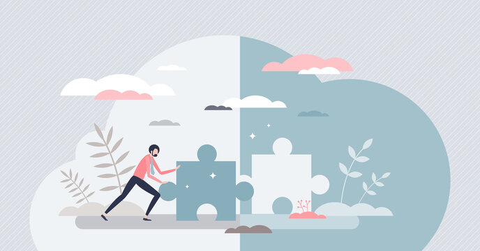 Business challenge solution as missing jigsaw puzzle tiny person concept