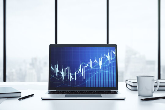Modern computer screen with abstract creative financial chart, research and analytics concept. 3D Rendering