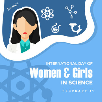 International Day of Women and Girl In Science Vector Design Template Background