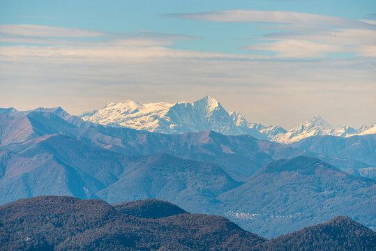 View of Monte Leone Monte San Giorgio in Switzerland
