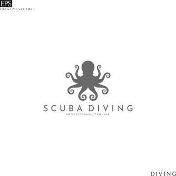 Abstract octopus. Scuba diving logo