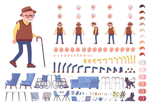 Old man construction set. Senior citizen, retired grandfather wearing glasses, old age pensioner, lonely grandpa. Cartoon flat style infographic illustration, different emotions, skin, hair tones