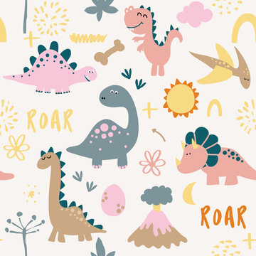 Dino friends. Funny cartoon dinosaurs, bones, and eggs. Cute t rex,  characters. Hand drawn vector doodle set for kids. Good for textiles, nursery, wallpapers, wrapping paper, clothes. Roar words