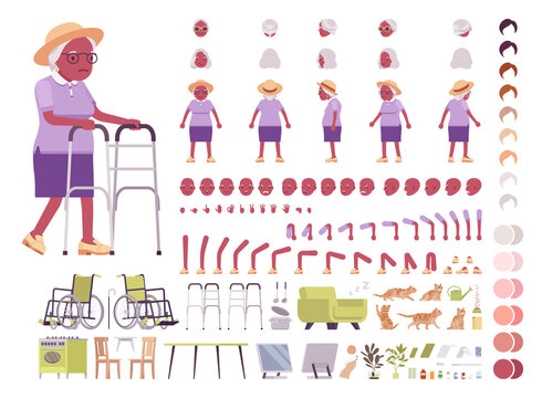 Old black woman, elderly person construction set. Senior citizen over 65 years, retired grandmother, old age pensioner. Cartoon flat style infographic illustration, different emotion, skin, hair tones