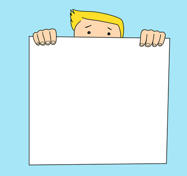 Illustration of a young man hidden behind a blank banner where you can write or draw whatever you want