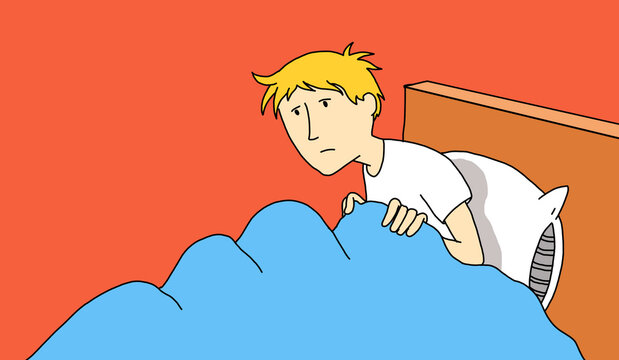 Illustration of a young man who has just woken up and is sitting and disheveled