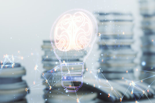 Abstract virtual idea concept with light bulb and human brain illustration on stacks of coins background. Neural networks and machine learning concept. Multiexposure