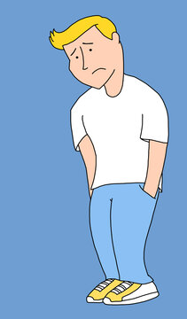 Illustration of a sad young man with his hands in his pockets looking down at the ground