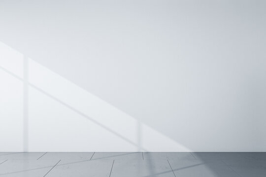 Front view on blank light grey wall in the morning and grey floor. Mockup. 3D rendering