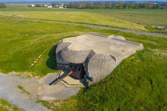 Longues sur MerFrance, Calvados department, Longues sur Mer, Aerial view of World War II German artillery battery in  Normandy