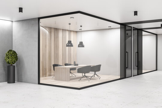 Modern eco style conference room with glass walls, wooden floor and wall and stylish furniture with black decor details. 3D rendering