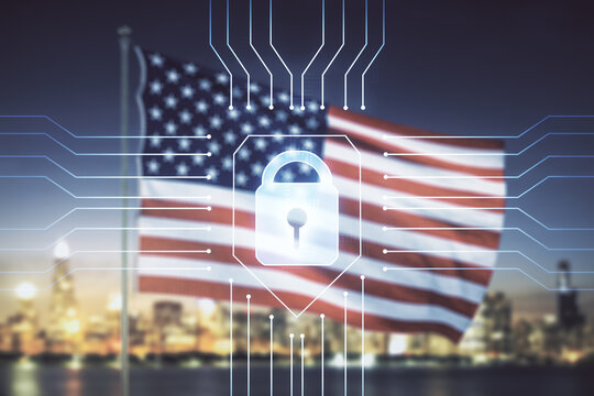Double exposure of virtual creative lock hologram with chip on USA flag and blurry cityscape background. Information security concept
