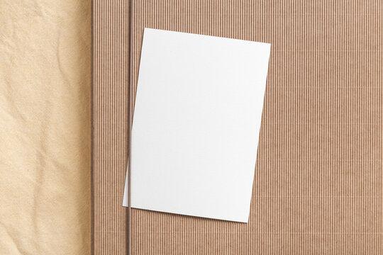 Invitation card 5x7 on paper folder. Mockup.