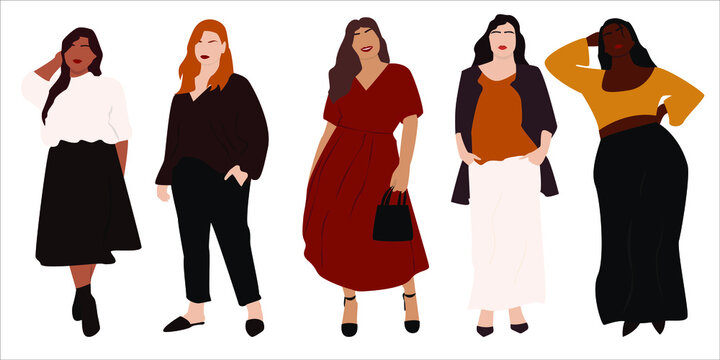 Vector illustration of bodypositive  women. Body positive movement and beauty diversity. A set of plus size women. Vector stock illustration isolated on white background. EPS 10