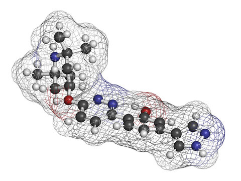 Branaplam SMA drug molecule. 3D rendering. Atoms are represented as spheres with conventional color coding: hydrogen (white), carbon (grey), nitrogen (blue), oxygen (red).
