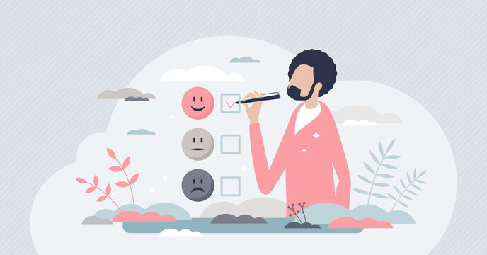 Client satisfaction survey as customer feedback review tiny person concept