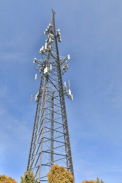 Vertical shot of a 5G tower in Morgantown, West Virginia, USA