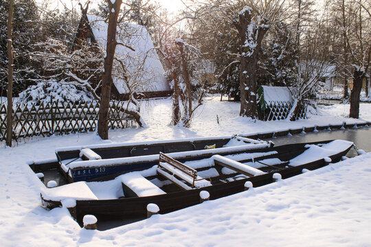 Winter im Spreewald; Stillleben in Leipe
