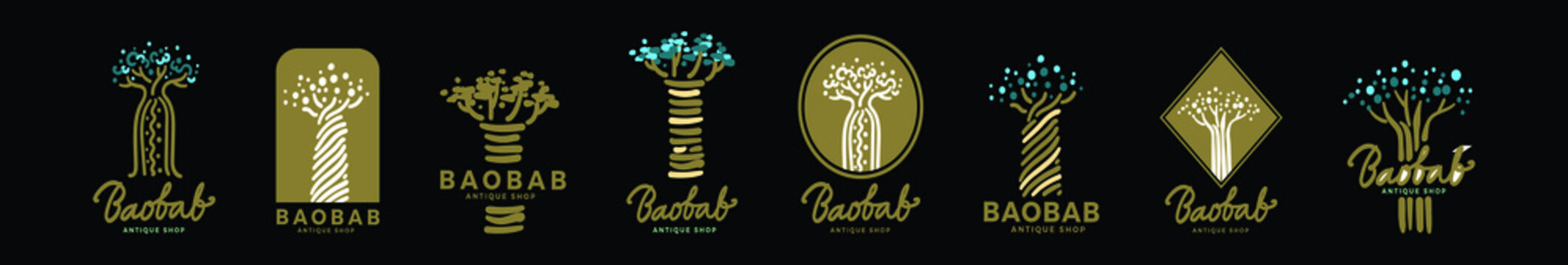 set of baobab or african tree cartoon icon design template with various models. vector illustration isolated on black background