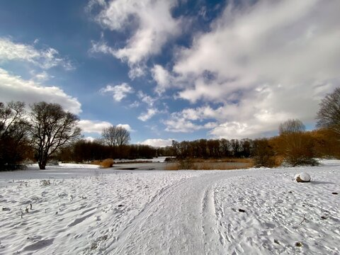 A snow covered field in Spijkenisse, dutch winter in The Netherlands