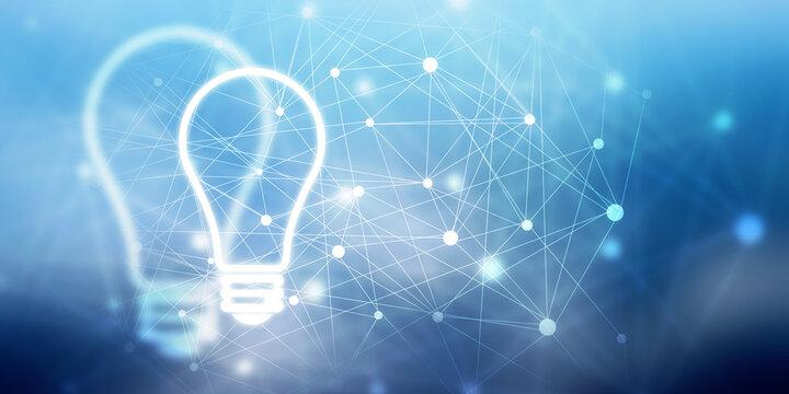 2d illustration bulb future technology, innovation background, creative idea concept