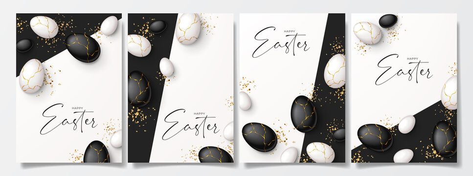 Set of Happy Easter holiday posters. Top view on white and black eggs with golden liquid and golden confetti. Vector illustration with 3d decorative objects. Greeting flyers.