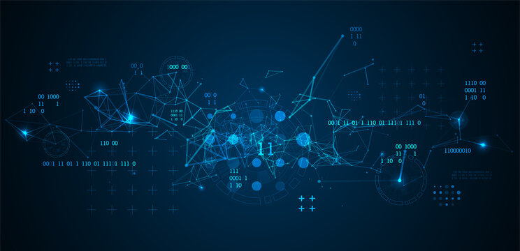 Technology background with plexus effect. Big data concept. Binary computer code. Vector illustration.