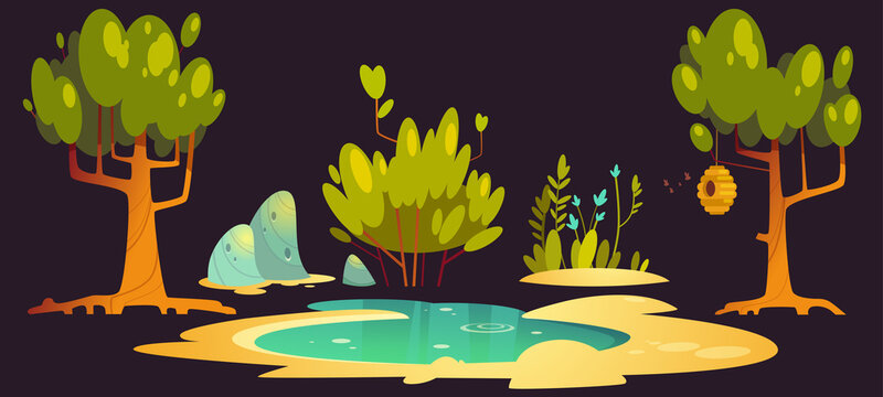 Forest landscape set with trees, pond, stones and beehive hanging on branch. Vector cartoon set of nature scene with lake, green bush and grass, flowers, bees and hive isolated on black background