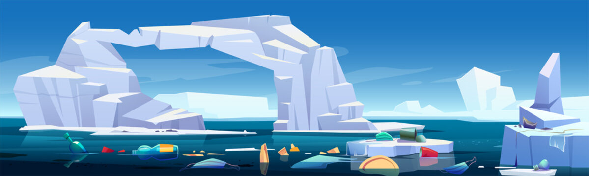 Arctic landscape with melting iceberg and plastic garbage floating in sea. Concept of global warning, climate change and ocean pollution. Vector cartoon illustration of glaciers and trash in water