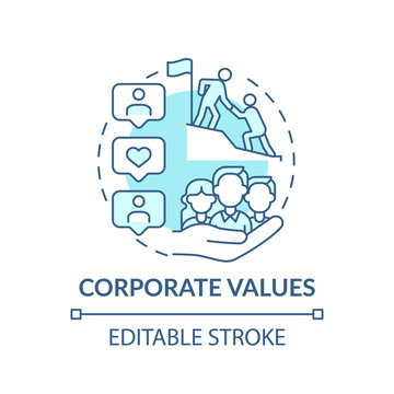 Core values concept icon. Helping working towards goals idea thin line illustration. Company culture and business strategy. Vector isolated outline RGB color drawing. Editable stroke