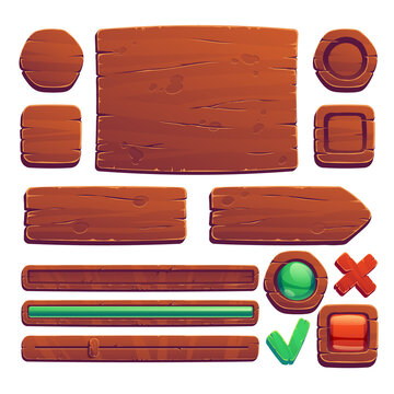 Wooden game buttons, cartoon game interface of wood texture, menu boards, ui or gui design elements. Slider, red and green keys, user panel isolated on white background, Vector illustration, icons set
