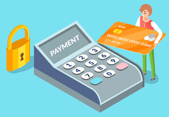 Wall Mural - Pos terminal confirms the payment by debit credit card with a tiny man character holding payment plastic card. Reaffirms payment via smartphone, mobile payment, internet banking, E-commerce market