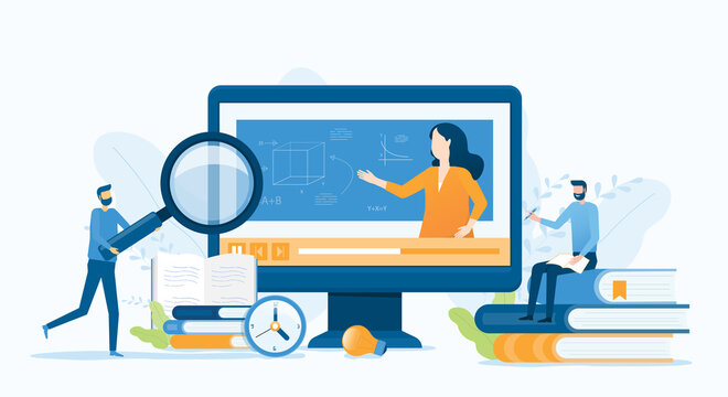 vector illustration design business research and online education and E-learning at home by webinar training concept