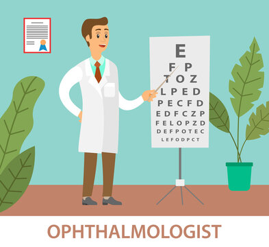 Optometrist points to the table for testing visual acuity. A doctor in a white coat is conducting a study of the state of vision. A man stands with a pointer in his hands. Snellen chart near the man