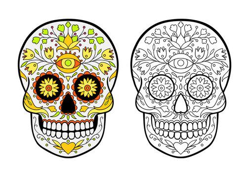 sugar skull coloring page