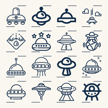 Simple set of ufo related lineal icons.
